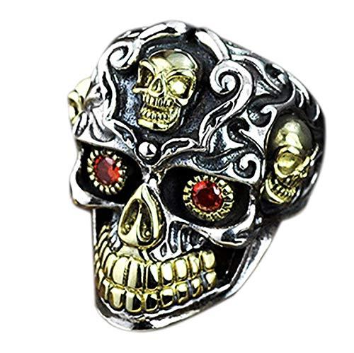 925 Sterling Silver Skull Ring For Men, Red Garnett Bead Eyes Skull Ring, Punk Skull Ring For Men, Adjustable, Men Engraved Skull Ring, Vintage Biker Ring, Gift For Him
