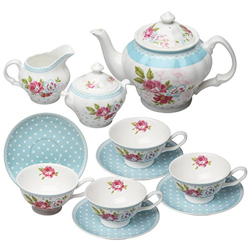 (Grace Teaware Bone China 11-Piece Tea Set (Alice Garden))