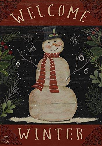 Welcome Flag Large - Briarwood Lane Welcome Winter Snowman House Flag Primitive Seasonal 28