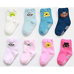 LUXEHOME (YR1613) Anti Slip Fashion Cartoon Baby Toddler Socks, 8 Pairs per Pack (M 1-3 Years)