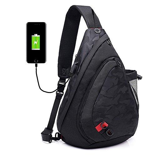 Zaino per Shoulder Borse a Nero Uomo tracolla multiuso Crossbody Bag Borse triangolo Donna Xuanbao Backpack Travel Daypack Chest a tracolla Sling B4wnqTx61A