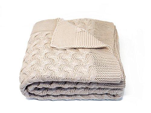 Kuprum Cotton Throw Blanket - Turkish Blanket (100% Cotton) - Throw Blanket for Couch Sofa Bed - 51 x 67 Inch - Beige Cream