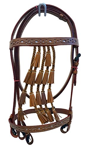 Spanish Vaqueros Leather Horse Bridle with Braided Bell Tassels and White Color Cut-Out (Vaquero Reins)