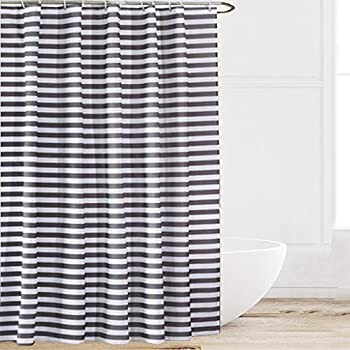 Eforcurtain Extra Long Striped Mildew Free Water Repellent Fabric Shower  Curtain,Grey/