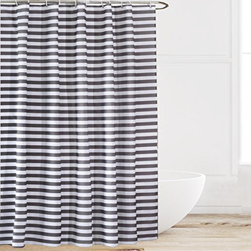 Eforcurtain Striped Mildew-Free Water-Repellent Fabric Shower Curtain,Grey/gray White,Standard Size (72-inch by 72-inch)