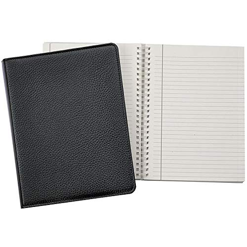 Wire-O-Notebook 9-inch Black Pebble Grain Fine Leather by Graphic ImageTM - ()