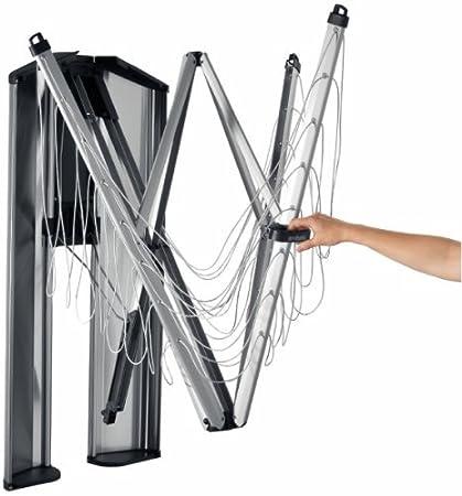 Brabantia 475924 - Tendedero de ropa plegable de pared Wallfix, con caja de almacenamiento en acero, 24 metros de cuerda, color gris metalizado, aluminio