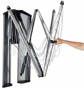 Brabantia 475924 - Tendedero de ropa plegable de pared Wallfix, con caja de almacenamiento en acero, 24 metros de cuerda, color gris metalizado