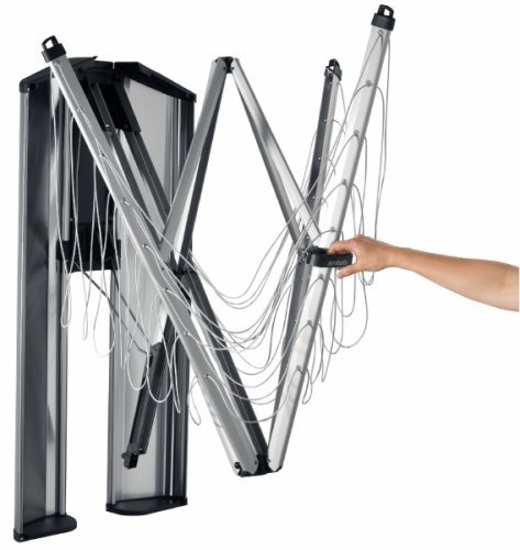 Brabantia WallFix, Wall-Mounted and Retractable Clothes Line with Protective Storage Case, 24M, Silver (Patio Uk Sets Cheap)