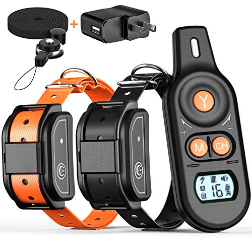 BuddiPets Dog Training Collar, 2019 New Version Waterproof Dual Channel Control 2600ft Shock Collar for Dogs Remote, Beep, Vibration, Shock for Medium Large Dog 2 Rechargeable Collars, Adapter Lanyard -