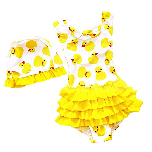 BEFULY Baby Girls One Piece Summer Swimsuit Cute Yellow Duck Hat (5T-6T)