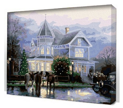 Thomas kinkade paint by number christmas and carols for Pre printed canvas to paint for adults