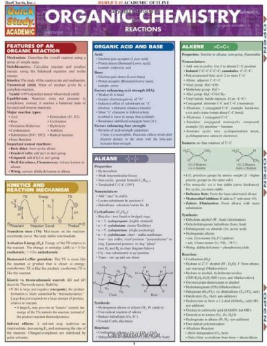 Organic Chemistry Reactions (Quickstudy-Quick Reference - Burlington Ma Stores