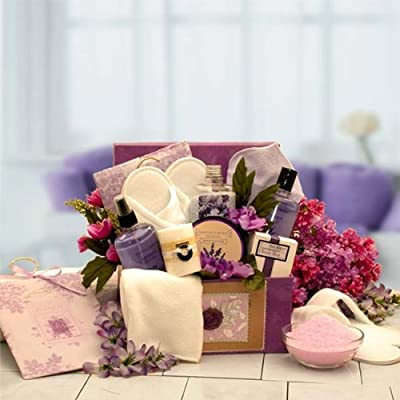 Lavender Inspirations Bath and Body Spa Basket for Women -Mothers Day Gift Idea for Her