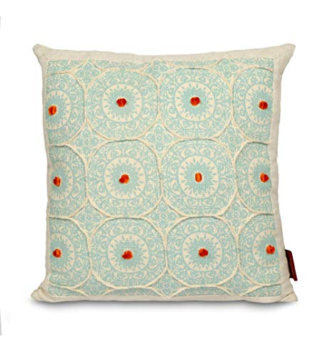 AWWESOME Cotton Matte Print with Double Needle Embroidery Throw Pillow Cover, 18 X 18 Inch, Set of 1, Off White-Aqua Green ()