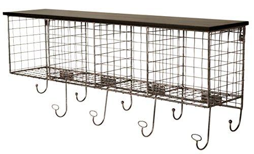 Grid Style Metal Four Cubbie Shelf Organizer for Entryway Wall Rack, with Hooks in Black - Cubbie Wall Storage