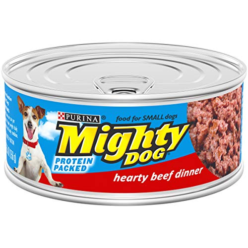 Purina Mighty Dog Small Breed Wet Dog Food, Hearty Beef Dinner - (24) 5.5 oz. Pull-Top Cans
