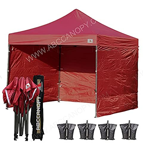 (18+ colors)AbcCanopy 8ft by 8ft Ez Pop up Canopy Tent Commercial Instant Gazebos with 4 Removable Sides and Roller Bag and 4x Weight Bag (Pop Up Shelter Side)