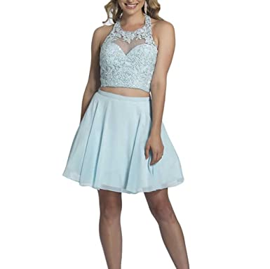 Short Homecoming Dresses Two Pieces Lace Chiffon Sky Blue Cocktail Dresses SkyBlue-US2