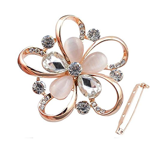 - DB&PEISHI 3pcs Elegant five-leaf crystal cat's eye pet collar pin buckle , gold crystal white
