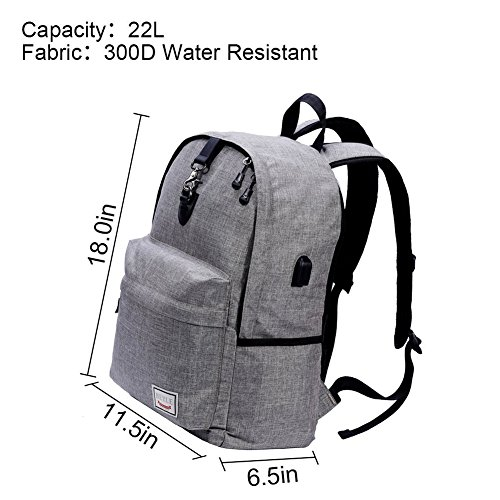 Stuo Waterproof Laptop Backpack USB Charging Port Lightweight Business Travel College Rucksack Bag Computer Backpack Men Women Student Black by Stuo (Image #5)