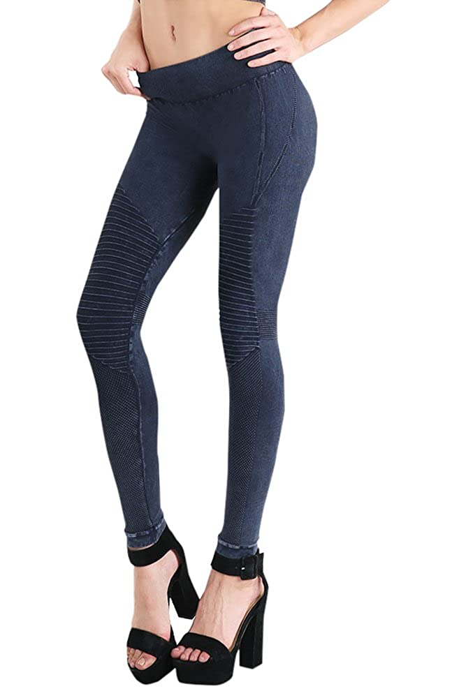 Nikibiki Womens Seamless Vintage Moto Leggings One Size Vintage Denim Blue NB7129_VINTAGE DENIM BLUE