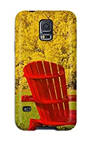 Rosemary M. Carollo's Shop New Style Protective Tpu Case With Fashion Design For Galaxy S5 (red Lawn Chairs Photography Autumn People Photography) 6888485K55955707