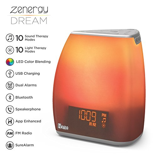(iHome Zenergy Bedside Sleep Therapy Machine Sleep Better, Easier & Longer, Zen Light & Sound Therapy Machine, Calming, Soothing Sounds, Soft Lighting, Bluetooth Audio, White Noise)