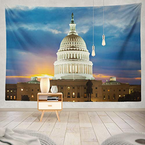 ASOCO Tapestry Wall Handing United States Building Washington Washington Building Hill Night Winter Wall Tapestry for Bedroom Living Room Tablecloth Dorm 80