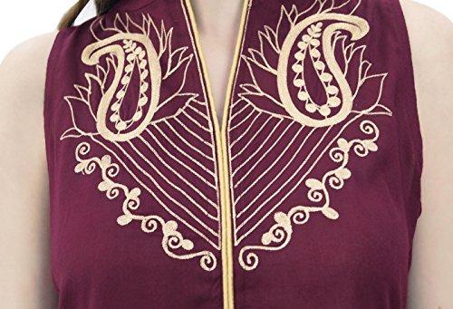 Anzug Frauen Rayon und Dupatta mit Beige Ethnic Indian Atasi bestickt Set Dunkelrot wZXxqBBO