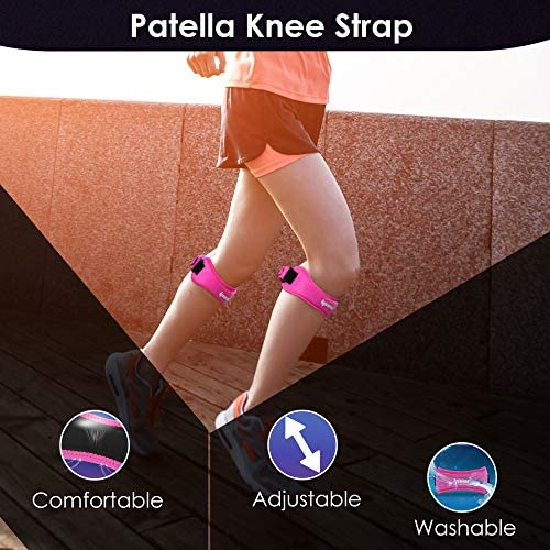 IPOW 2 Pack Knee Pain Relief & Patella Stabilizer Knee Strap Brace Support for Hiking