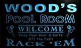 py1078-b Wood's Pool Room Rack 'em Welcome Bar Beer Neon Light Sign