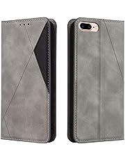 Hoesje voor iPhone 8 Plus / 7 Plus Wallet Book Case, Magneet Flip Wallet met Kaarthouders slots Robuuste schokbestendige Bookcase voor Apple iPhone 7Plus / 8Plus - JEYTB030023 Grijs