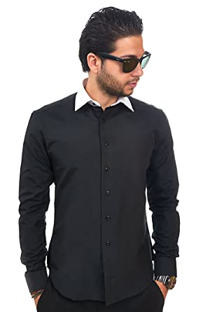 New Mens Dress Shirt Black / White Collar Tailored Slim Fit ...