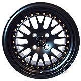 JNC Wheels 001 One 15x8 4x100 25 Matte Black Gold Rivet