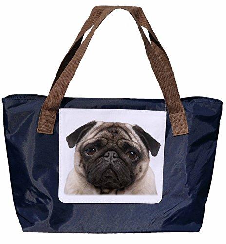 Shopper /Schultertasche / Einkaufstasche / Tragetasche / Umhängetasche aus Nylon in Navyblau - Größe 43x33cm - Motiv: Mops Porträt - 05