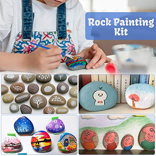 BigOtters Rock Painting Kit, 6 Rocks Set with Water Resistant Glow Paint Craft Gift for Kids, Hide and Seek Kindness Rocks, 46PCS