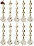 Royal Designs Replacement Chandelier Crystal Prism Clear K9 Quality French Maple Leaf Cut with Polished Brass Connectors and 3 Octogan Crystal Beads Pack of 10
