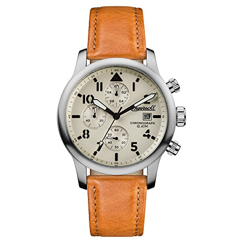 Ingersoll Men's Automatic Stainless Steel and Leather Casual Watch, Color:Brown (Model: I01501)