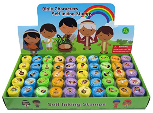 TINYMILLS 50 Pcs Bible Characters Religious Assorted Stampers for Kids -