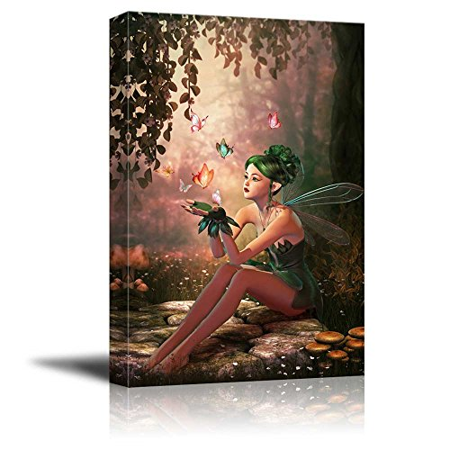 3d Computer Graphics of a Fairy and Flying Butterflies Wall Decor ation