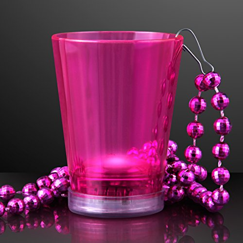 Pink Light Up Shot Glass on Party Bead Necklace (Set of 12) -