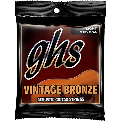 GHS Strings VN-L Vintage Bronze Acoustic Guitar Strings, Light (Ghs Bright Bronze Acoustic Guitar)