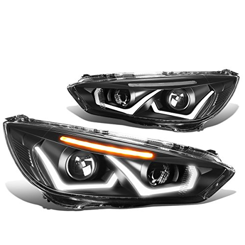 DNA Motoring Black clear HL-HPL-LED-FF16-BK-CL1 Dual U-Halo Projector Headlight Assembly (Driver & Passenger - Dual Ford Projector