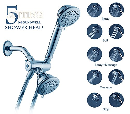 Bthroom Shower Accessories,D-Soundwell Handheld and Fixed Shower Combo 5 Settings ABS Material Chrome Finish Surface Showerhead Set With Shower Hose