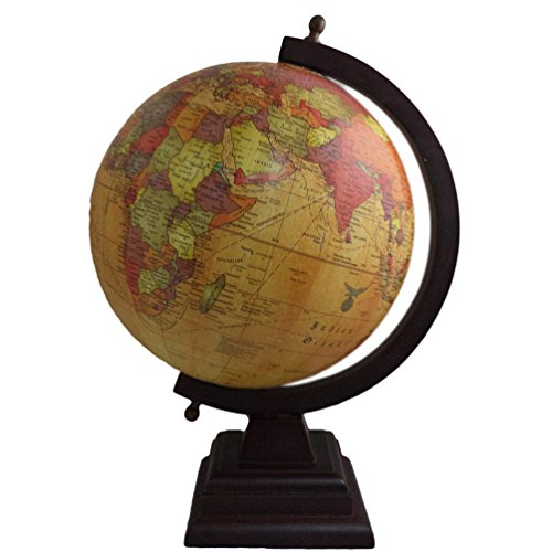 Home Décor Handmade World Map Decorative Plastic Globe Wooden Standing Home Decor Antique Height-14