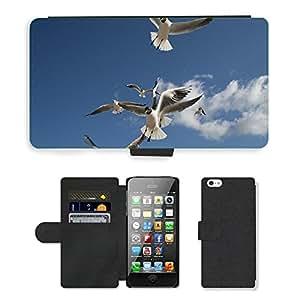 PU LEATHER case coque housse smartphone Flip bag Cover protection // M00109388 Seagull Beach se nubla el cielo azul de // Apple iPhone 5 5S 5G
