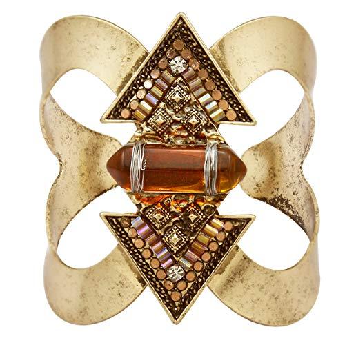 RechicGu Vintage Gold Antique Western Indian Cowgirl Vintage Arrow Stone Native American Aztec Bracelet Bangle Cuff