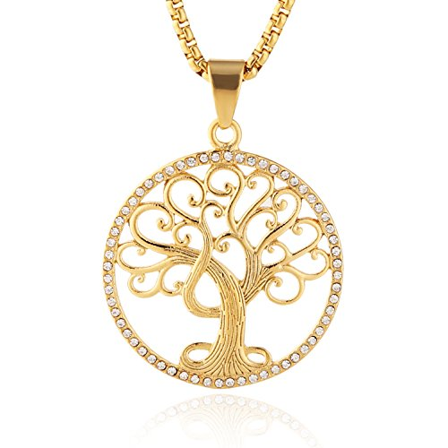 - HZMAN 18k Gold Plated Cz Inlay Tree of Life Stainless Steel Pendant Necklace Success and Protection Lucky (Tree of Life)
