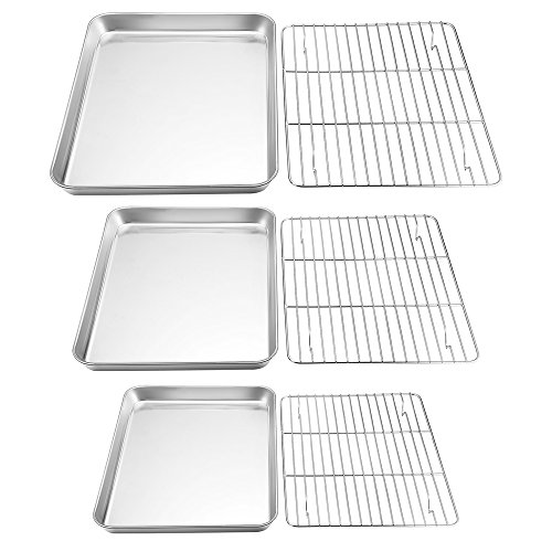 Stainless Steel Steel Cookie Sheet - TeamFar Baking Sheet with Rack Set, Stainless Steel Cookie Sheet Baking Pans with Cooling Rack, Non Toxic & Healthy, Rust Free & Heavy Duty, Mirror Finish & Easy Clean, Dishwasher Safe - 6 Pieces